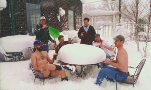 January 1994, enjoying a cold pint on our patio after a foot and a half of snow!